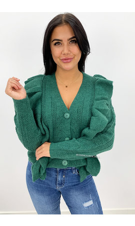 DARK GREEN - 'JULINE' - PREMIUM QUALITY RUFFLE SWEATER VEST