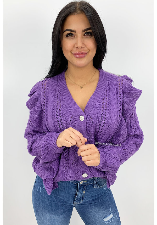 PURPLE - 'JULINE V2' - PREMIUM QUALITY RUFFLE SWEATER VEST