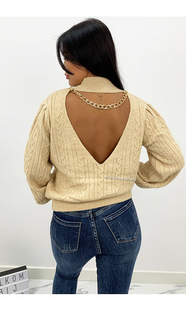 BEIGE - 'CASSIA' - PREMIUM QUALITY OPEN BACK CHAIN KNIT SWEATER