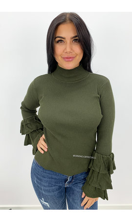 KHAKI GREEN - 'ELLIS' - RIBBED RUFFLE SLEEVE TOP