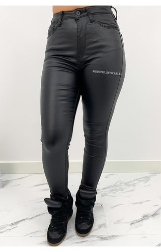 QUEEN HEARTS JEANS - COATED BLACK - PERFECT SUPER HIGH WAIST JEANS - 9171
