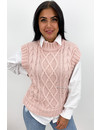 SOFT PINK - 'NAEMI' - HIGH NECK CABLE KNIT SPENCER