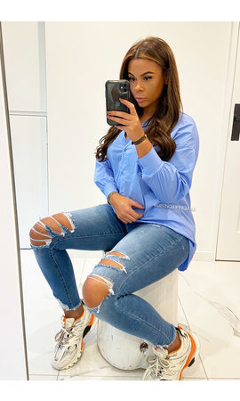 BLUE - 'SARAI' - LONG OVERSIZED BLOUSE SHIRT