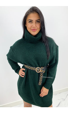 DARK GREEN - 'VERONICA' - PREMIUM QUALITY OVERSIZED COL DRESS