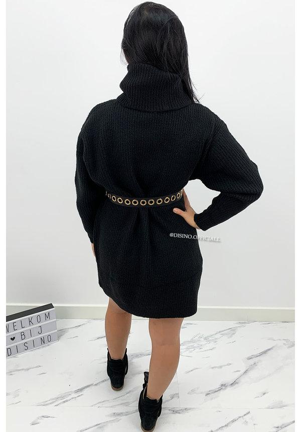 BLACK - 'VERONICA' - PREMIUM QUALITY OVERSIZED COL DRESS