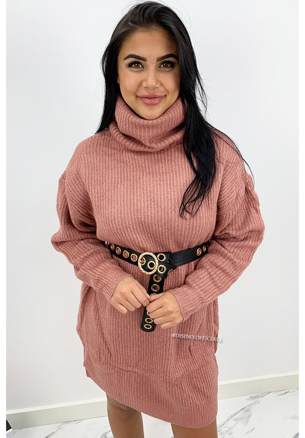 DUSTY PINK - 'VERONICA' - PREMIUM QUALITY OVERSIZED COL DRESS