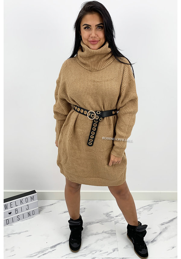 CAMEL - 'VERONICA' - PREMIUM QUALITY OVERSIZED COL DRESS