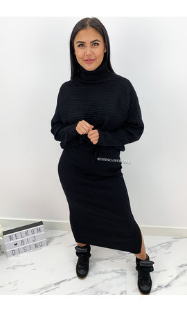 BLACK - 'LARISSA SKIRT' - PREMIUM QUALITY RIBBED COL COMFY SET