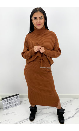 BROWN - 'LARISSA SKIRT' - PREMIUM QUALITY RIBBED COL COMFY SET