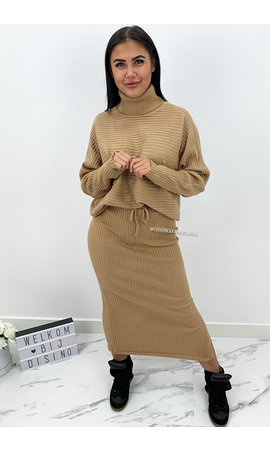 CAMEL - 'LARISSA SKIRT' - PREMIUM QUALITY RIBBED COL COMFY SET