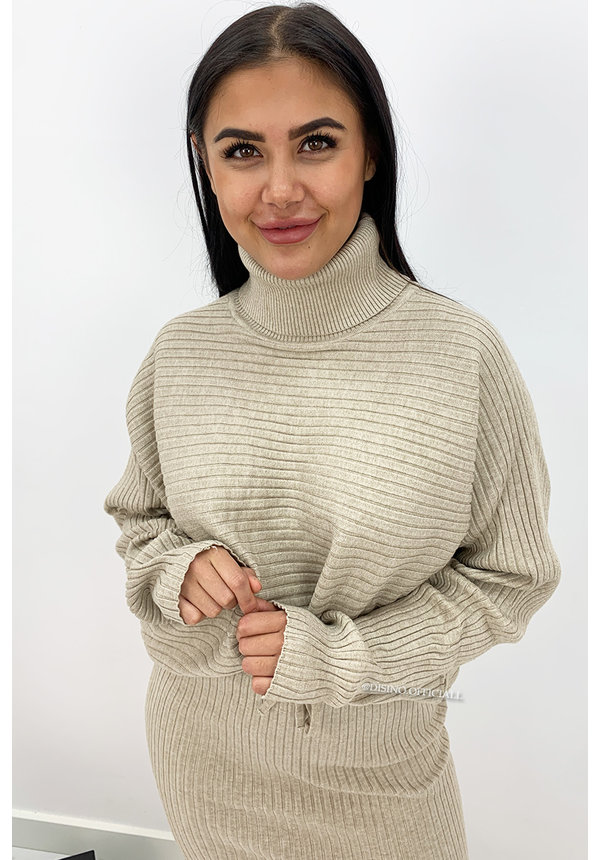 BEIGE - 'LARISSA SKIRT' - PREMIUM QUALITY RIBBED COL COMFY SET
