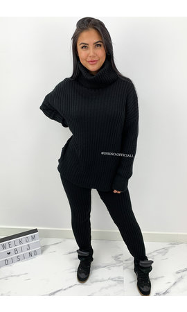 BLACK - 'TARA' - COMFY COL KNIT TWO PIECE SET