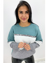 TURQUOISE - 'LIZZY' - ASSYMETRIC STRIPED KNIT