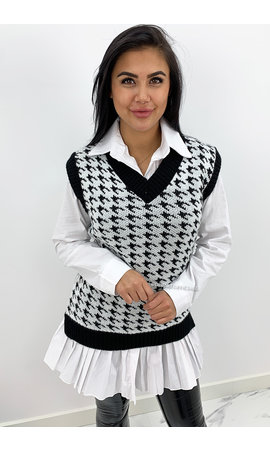 WHITE - 'AMELIA' - OVERSIZED PLAID PRINT KNITTED SPENCER