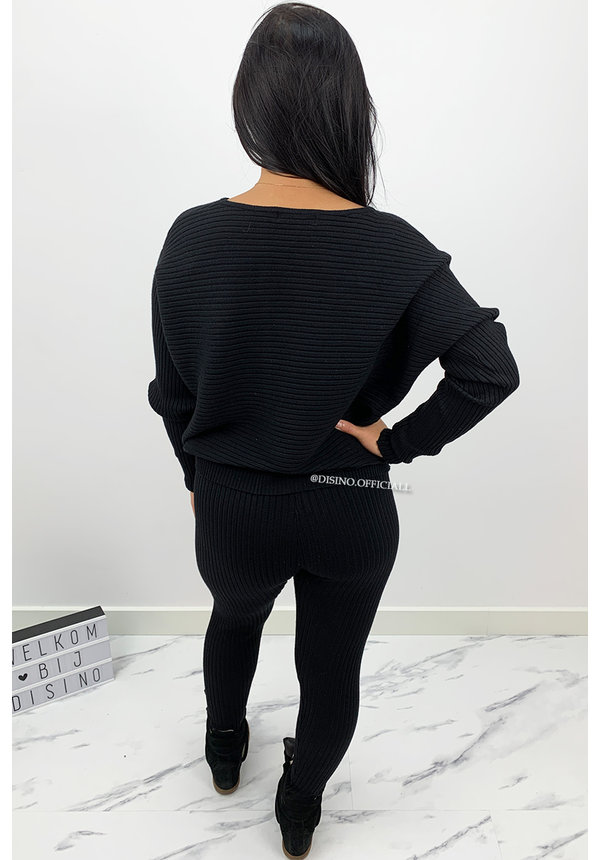 BLACK - 'ANGELA' - RIBBED COMFY SET