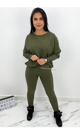 KHAKI GREEN - 'ANGELA' - RIBBED COMFY SET