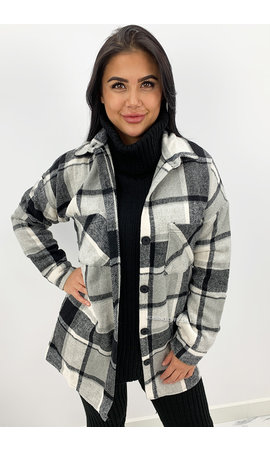 GREY - 'CHECK SARINA' - COZY OVERSIZED BLOUSE JACK
