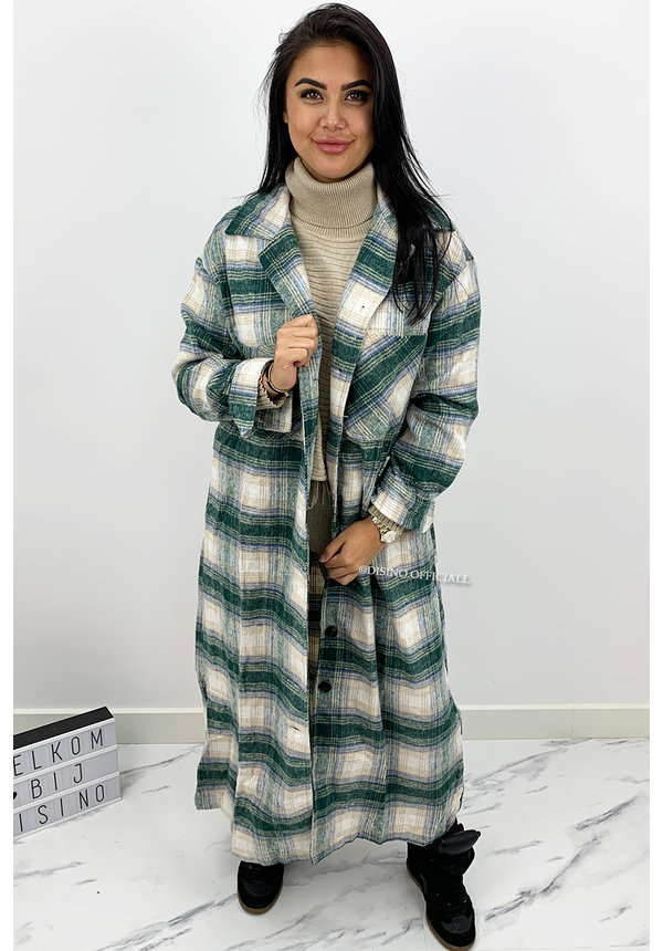 GREEN - 'SIEN MAXI' - OVERSIZED FLANNEL MAXI BLOUSE