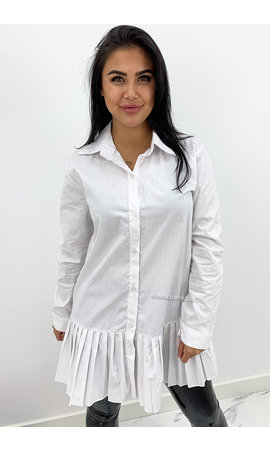 WHITE - 'ALAIA LONG' - OVERSIZED RUFFLE BLOUSE LONG