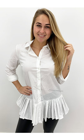 WHITE - 'ALAIA SHORT' - OVERSIZED RUFFLE BLOUSE