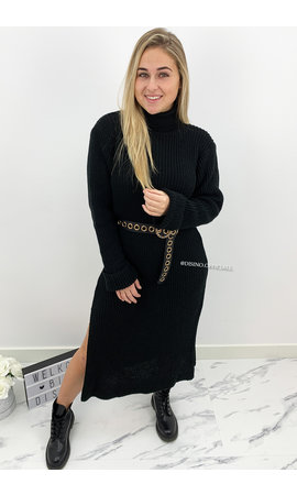 BLACK - 'MARIANA' - COZY MAXI KNIT COL DRESS