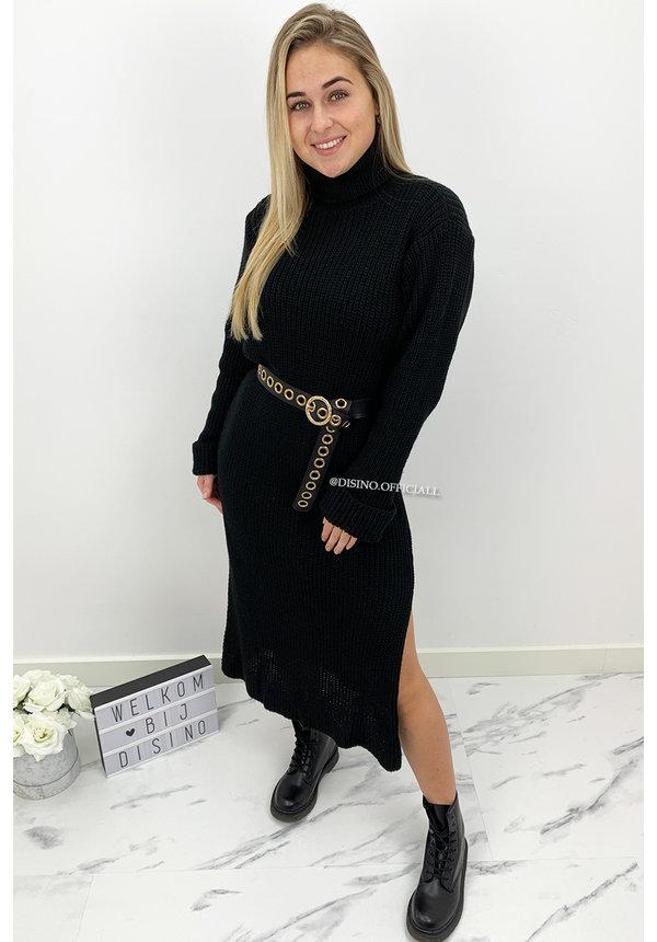 BLACK - 'MARIANA' - COZY MAXI KNIT COL DRESS
