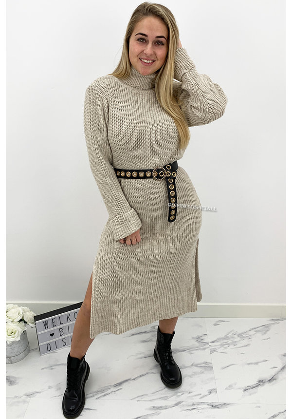 BEIGE - 'MARIANA' - COZY MAXI KNIT COL DRESS