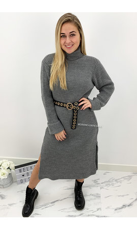 DARK GREY - 'MARIANA' - COZY MAXI KNIT COL DRESS