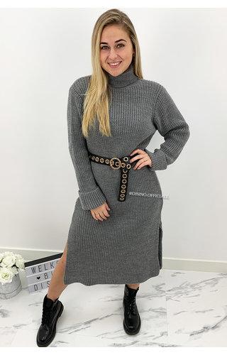 DARK GREY - 'MARIANA' - COZY MAXI KNIT COL DRESS