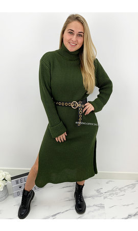 KHAKI GREEN - 'MARIANA' - COZY MAXI KNIT COL DRESS