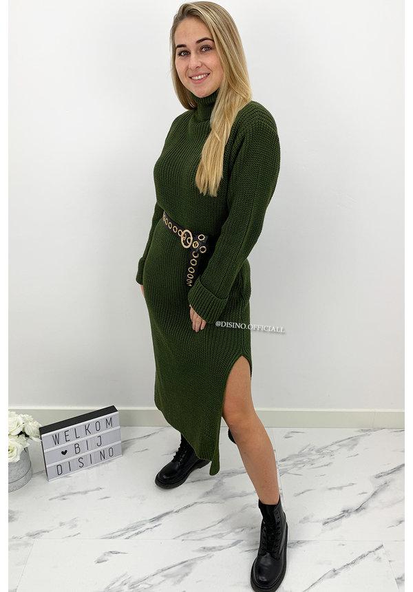 KHAKI GREEN - 'MARIANA' - COZY MAXI KNIT COL DRESS