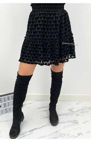 BLACK - 'MIYA SKIRT' - PREMIUM QUALITY VELVET HEARTS SKIRT
