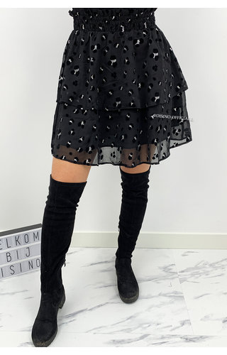 BLACK - 'MANDY SKIRT' - PREMIUM QUALITY LEOPARD SKIRT
