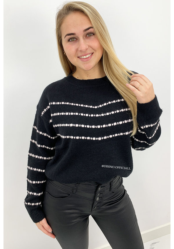 BLACK - 'MORGAN' - SOFT TOUCH STRIPED KNIT SWEATER