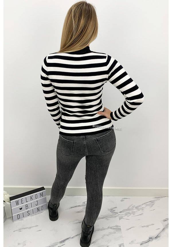 BLACK - 'GRACE' - STRIPED GOLD BUTTON RIBBED TOP