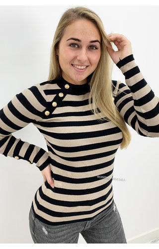 BEIGE - 'GRACE' - STRIPED GOLD BUTTON RIBBED TOP