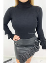 BLACK - 'TRUMPET TOP' - SOFT TOUCH TRUMPET SLEEVE TOP