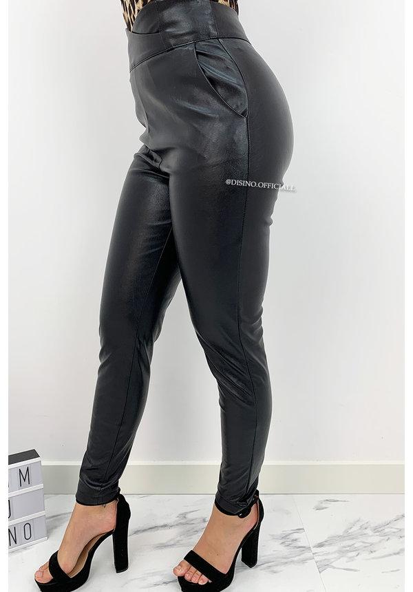 BLACK - 'LEATHER CHRISSY' - CROSS OVER HIGH WAIST PANTS