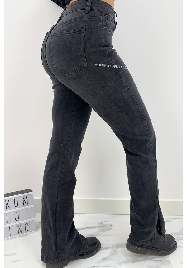 QUEEN HEART JEANS - BLACK DENIM - SUPER STRETCH STRAIGHT JEANS SIDE SPLIT - 838