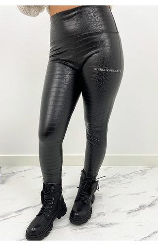 BLACK - 'SANDY' - LEATHER LOOK CROCO LEGGING