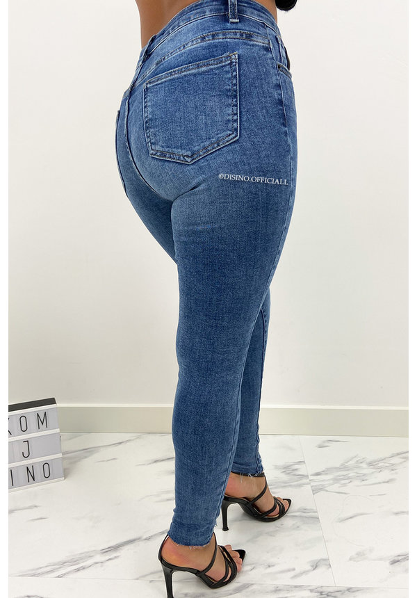 QUEEN HEARTS JEANS - BLUE - HIGH WAIST SKINNY JEANS - 852