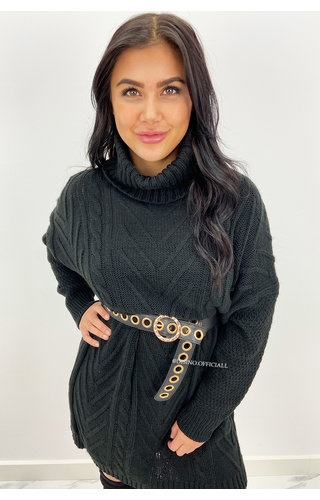 BLACK - 'LUCIE' - OVERSIZED CABLE KNIT COL DRESS
