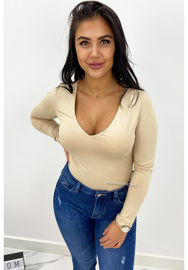 NUDE - 'NICOLE V-NECK' - PERFECT FIT LONG SLEEVE TOP