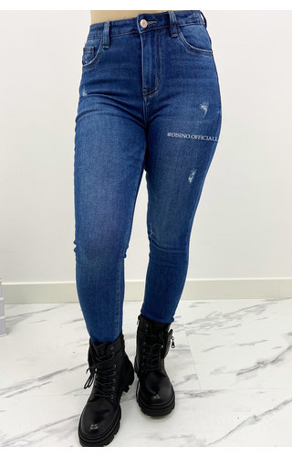 QUEEN HEARTS JEANS - BLUE - HIGH WAIST TREGGING JEANS - 856