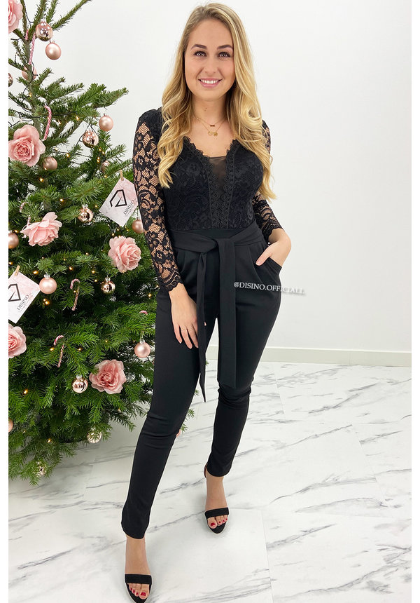 BLACK - 'ROMILLY' - LONG SLEEVE LACE JUMPSUIT