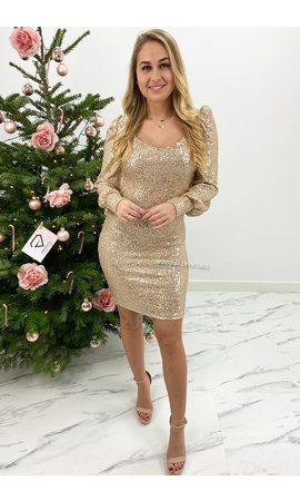 BEIGE - 'GLAMMY' - ALL OVER SEQUIN LONG SLEEVE DRESS