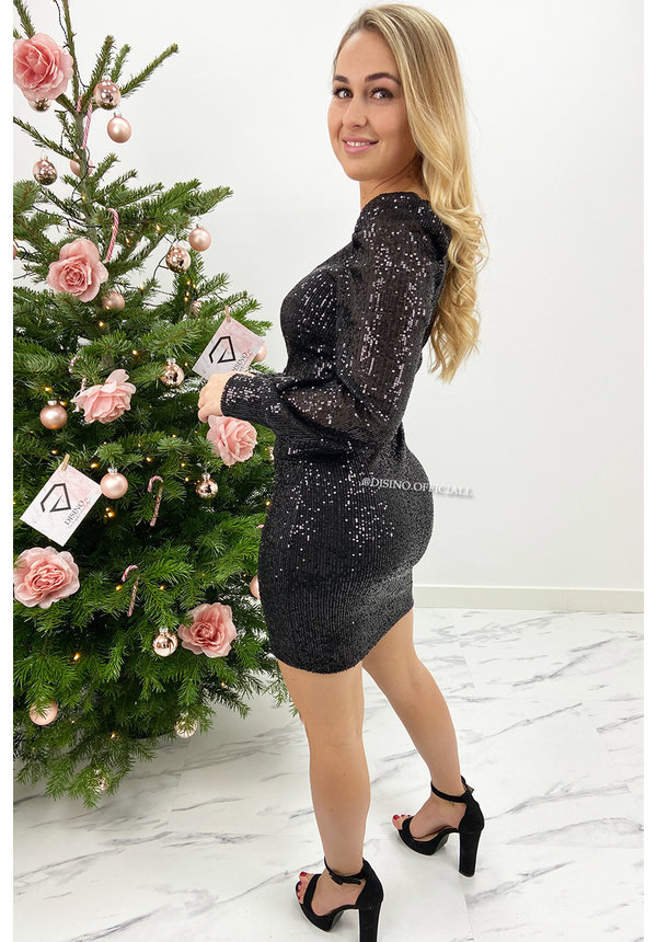 BLACK - 'GLAMMY' - ALL OVER SEQUIN LONG SLEEVE DRESS