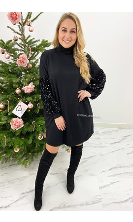BLACK - 'VIVIENNE' - OVERSIZED SPARKLE SLEEVE COMFY COL DRESS