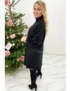 BLACK - 'VIVIENNE' - OVERSIZED SPARKLE SLEEVE COMFY COL DRESS
