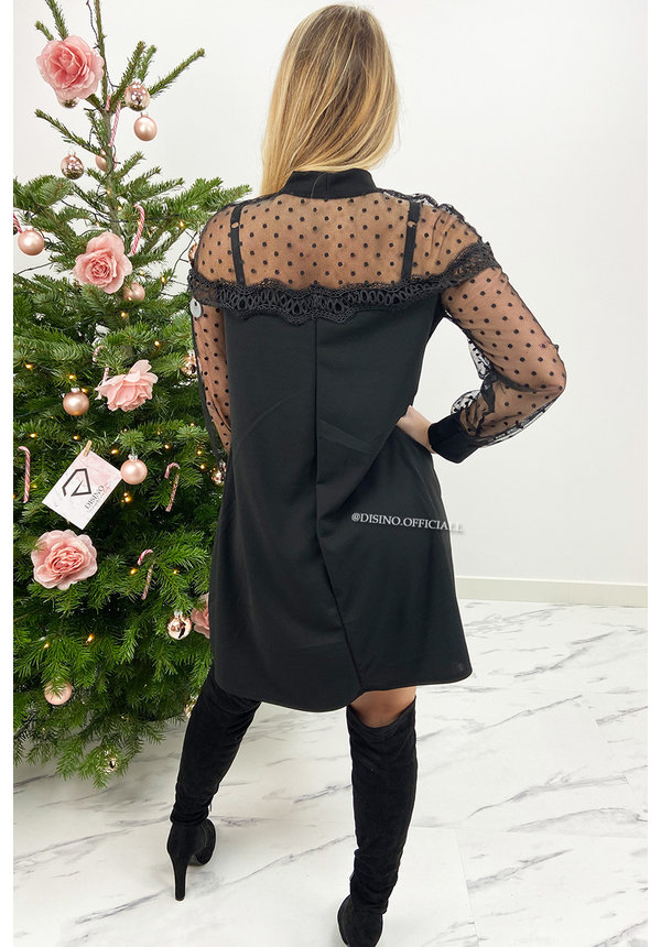 BLACK - 'GINA' - A-LINE DOTTED MESH SLEEVE DRESS